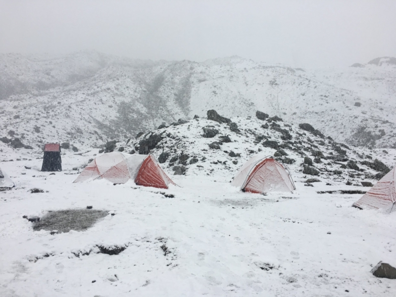 We arrived in camp to tents set up and covered in snow.