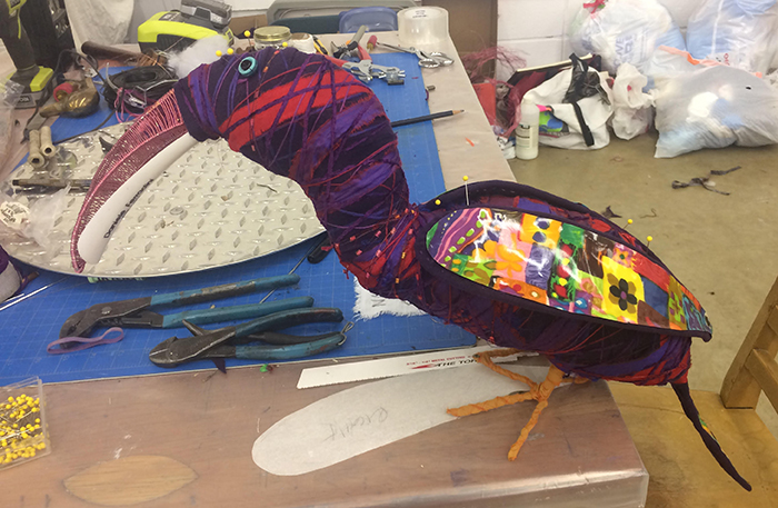 Hornbill sculpture from recycled materials
