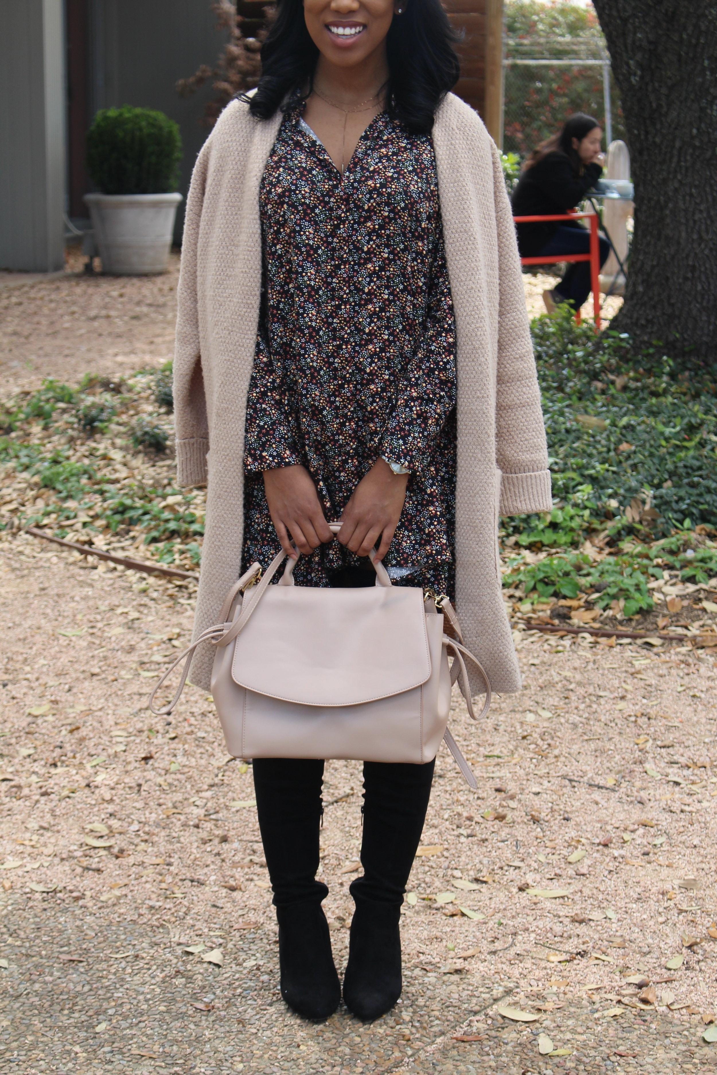 Sweater:  Forever21 (similar)  Dress:  Zara   Bag:  Zara  (similar)   Boots:  Public Desire