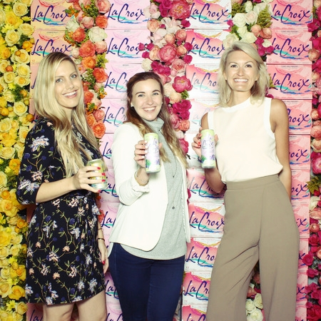 With new friends at the La Croix booth