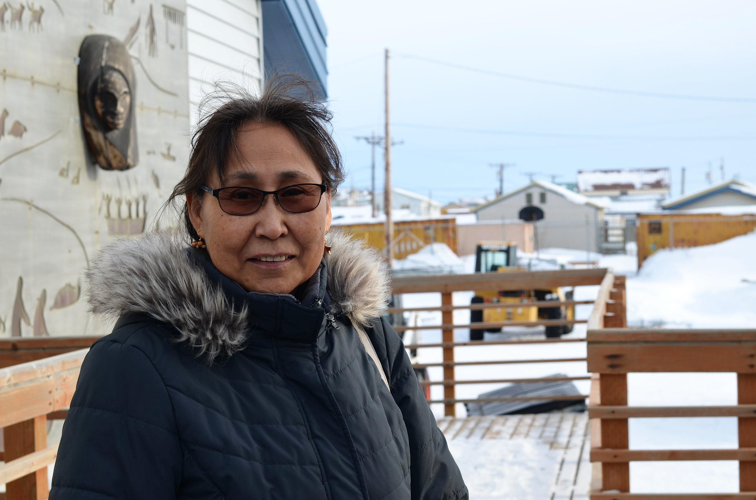 Alvanna-Stimpfle on the boardwalk outside the University of Alaska Northwest Campus in Nome.