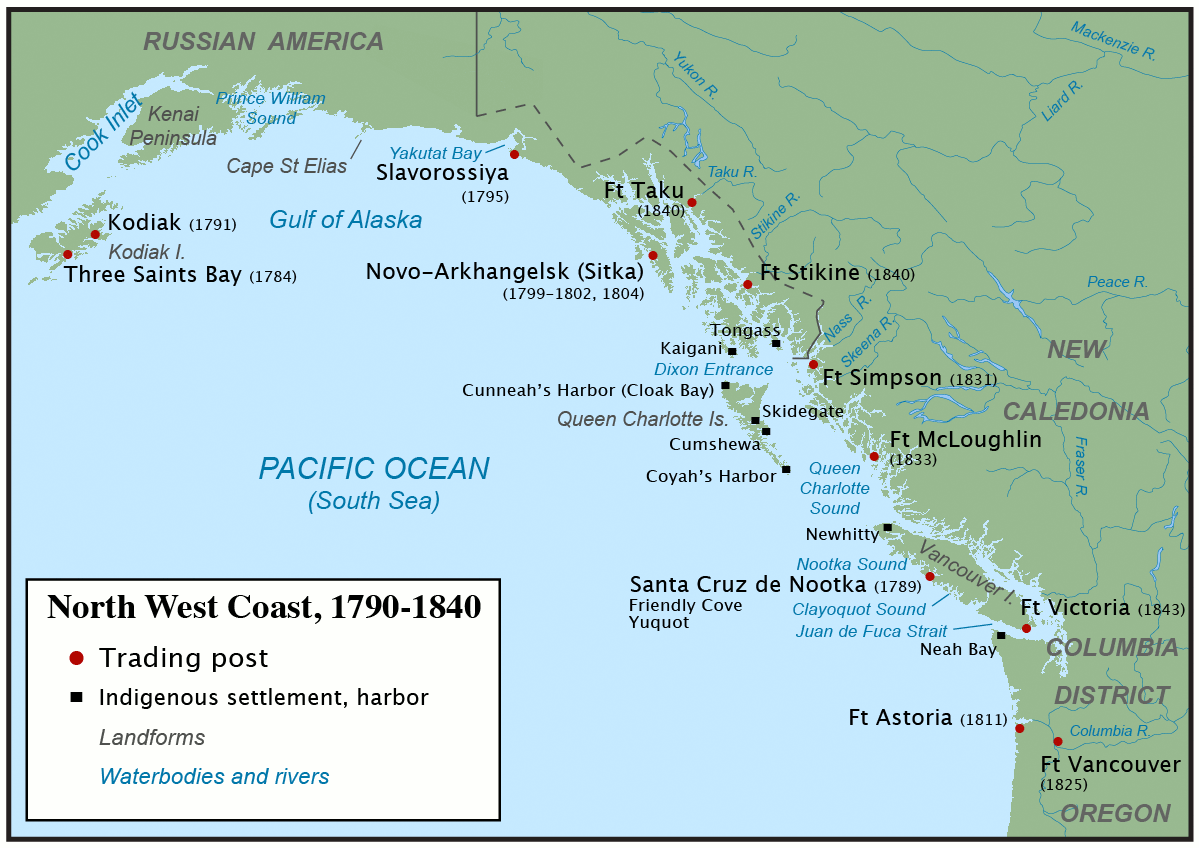 The Northwest Coast during the maritime fur trade era, around 1790 to 1840.  From https://en.wikipedia.org/wiki/Fur_trade
