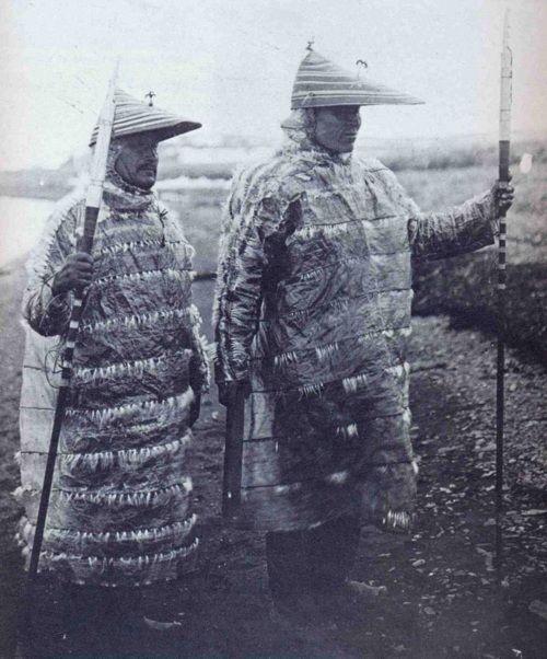 Unangan hunters in gut-skin jackets.Aleutian Islands, Alaska. From http://aboutnativeamericans.blogspot.com