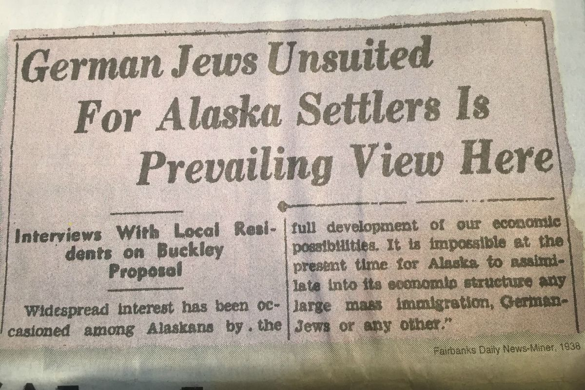 Clipping from the    Fairbanks Daily News-Miner  in 1938, showing widespread rejection of the Slattery Report proposing Jewish resettlement in Alaska.  From:https://www.adn.com/resizer/qGDLvnMFYUP7RgYJC2Eu5KT4__8=/1200x0/wp-adn.s3-website-us-west-2.amazonaws.com/image-archive/1085021/refugees3.JPG?token=bar