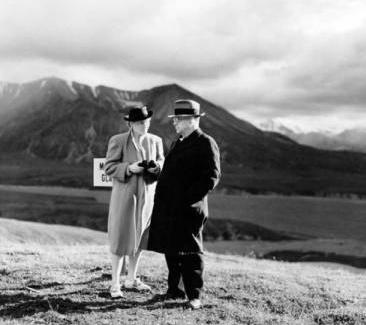 Harold L. Ickes and wife, Jane Dahlman Ickes, visiting Alaska's Mount McKinley National Park in 1938. From:http://greenandgold.uaa.alaska.edu/blog/24235/alaska-deny-asylum-wwii-jewish-refugees/