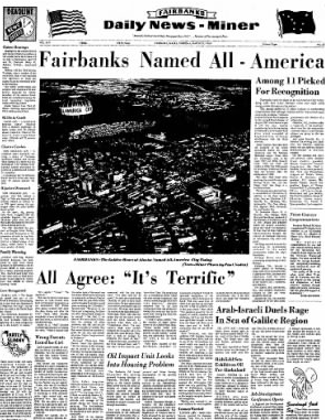 "Fairbanks Daily News-Miner announces ""All-American City"" status, 1968."