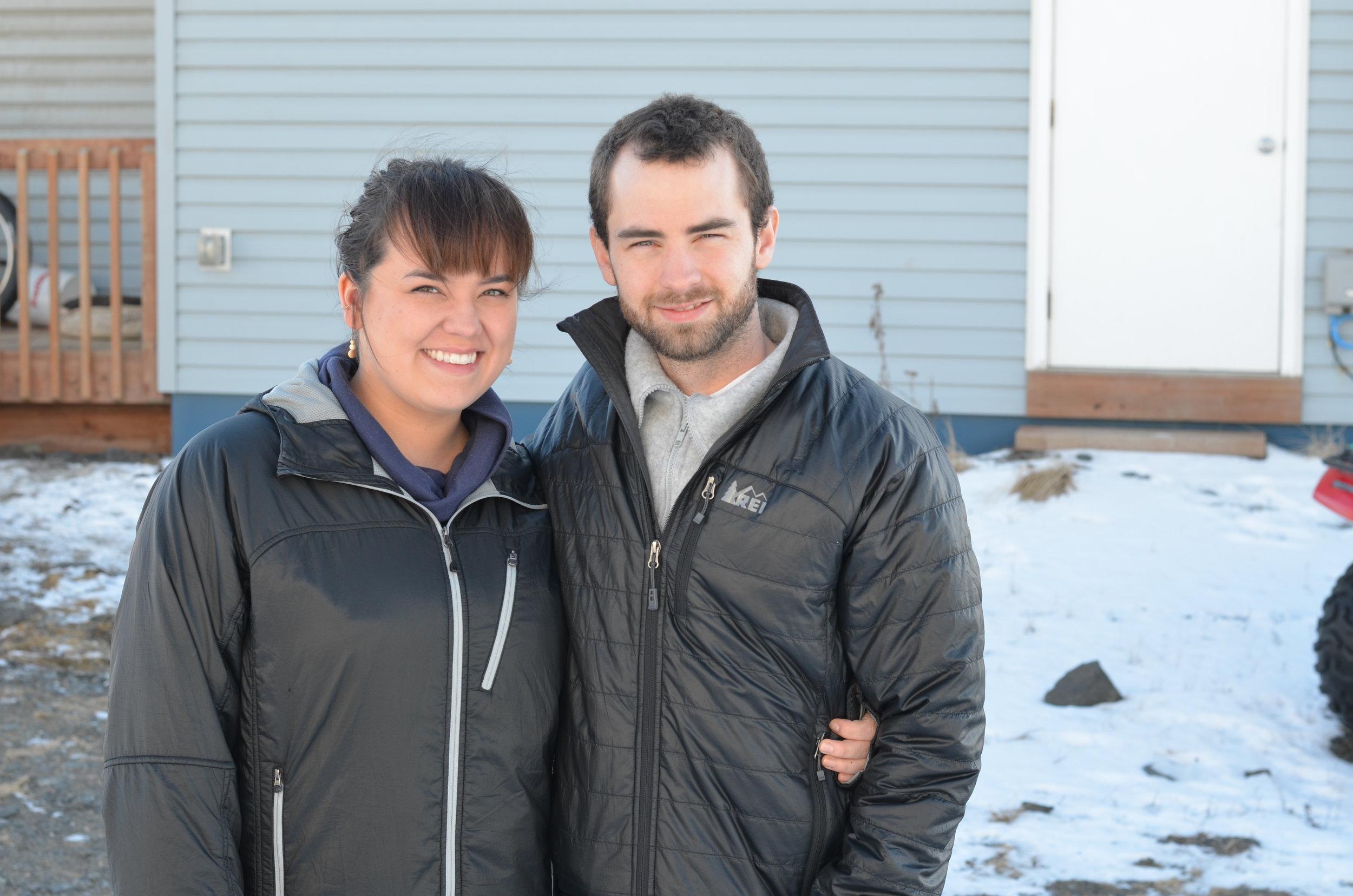 Simonsson with his wife Katiya in Unalakleet.