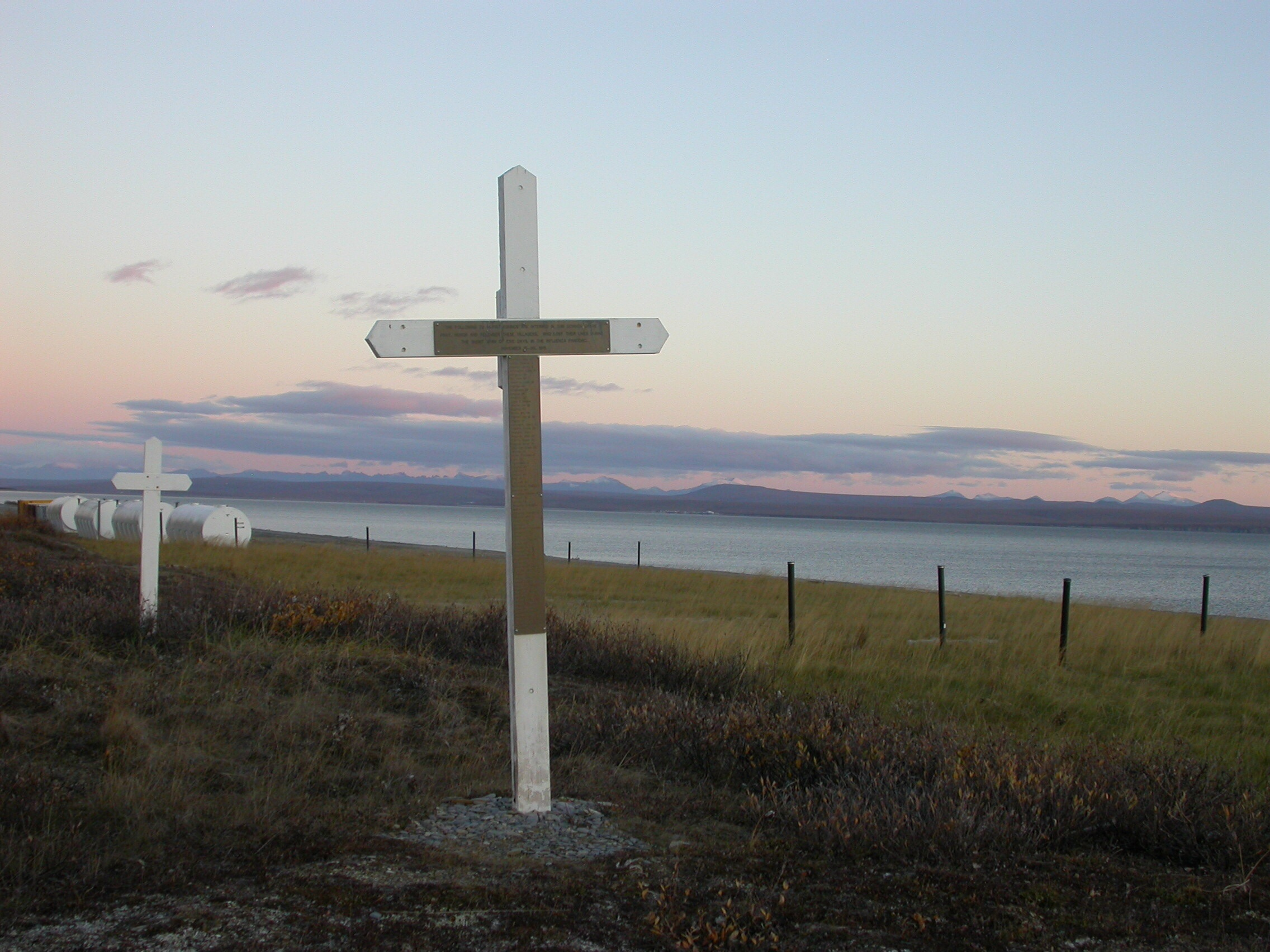 Brevig Mission, Alaska, where 72 people were buried following the Spanish flu outbreak of 1918.  Photo by Ned Rozell.   From:  http://www.gi.alaska.edu/alaska-science-forum/villager-s-remains-lead-1918-flu-breakthrough