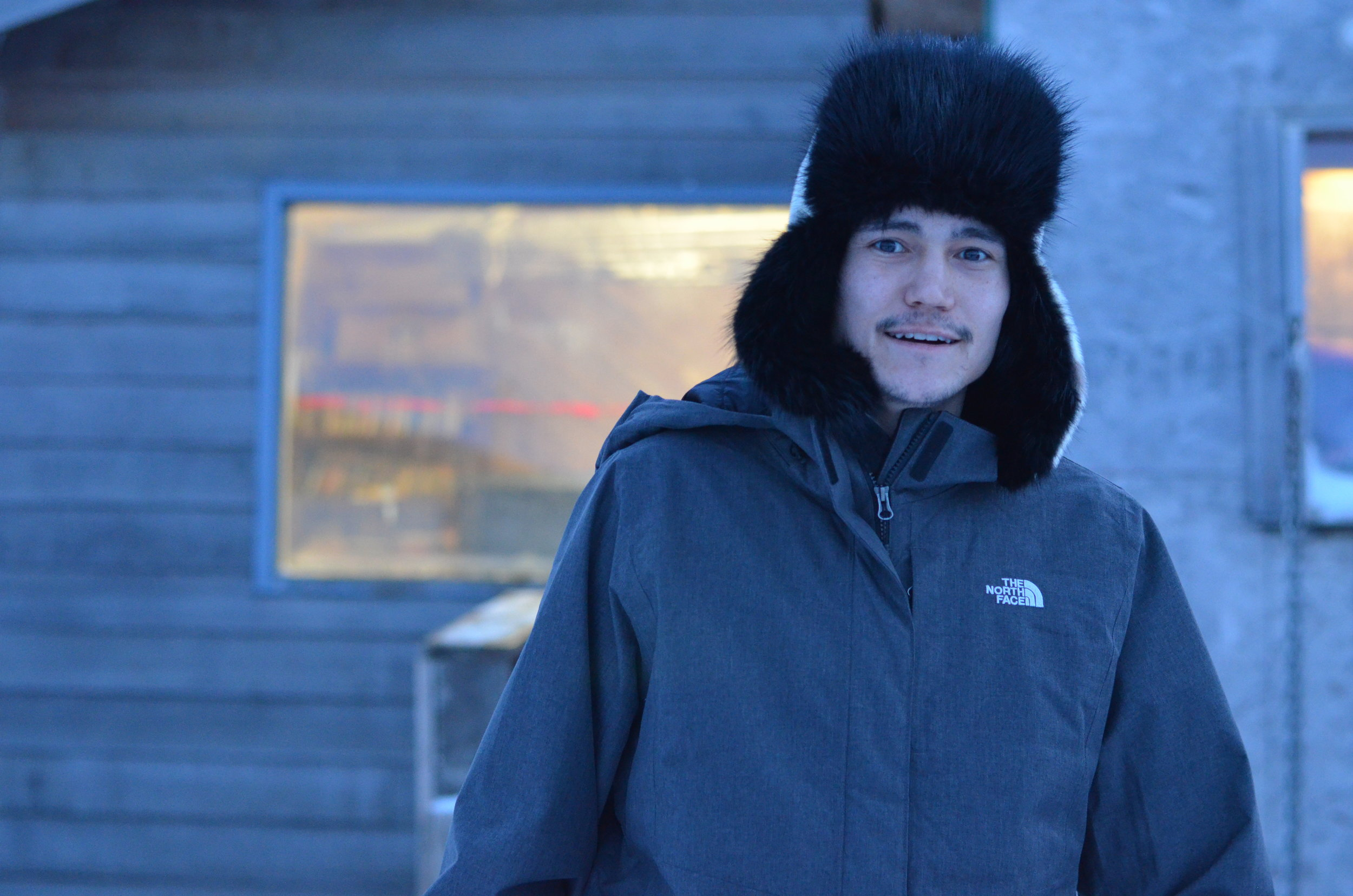 Irelan outside his home on Nome's East End.