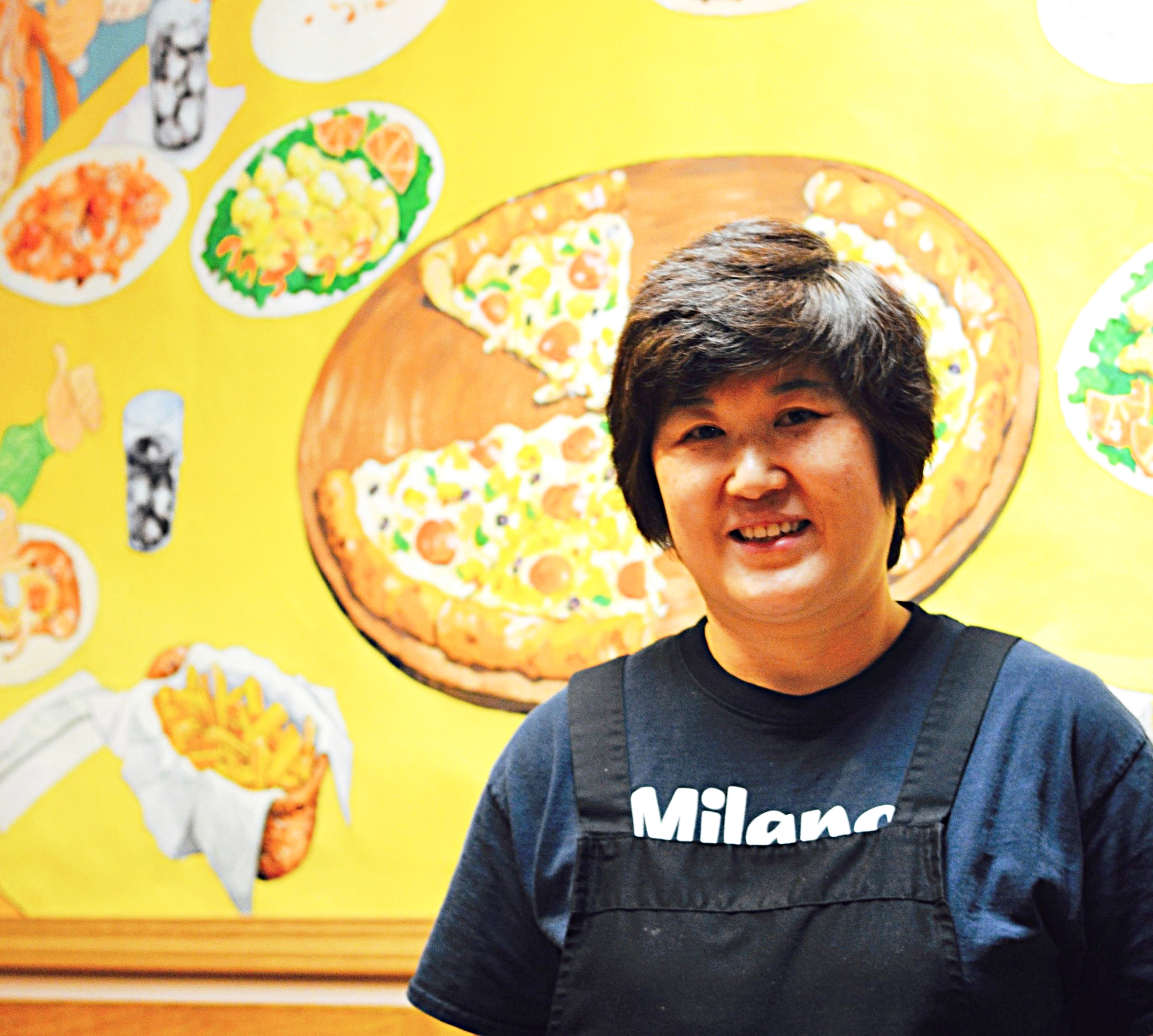 Kyung at her restaurant, Milano's Pizza, in downtown Nome.