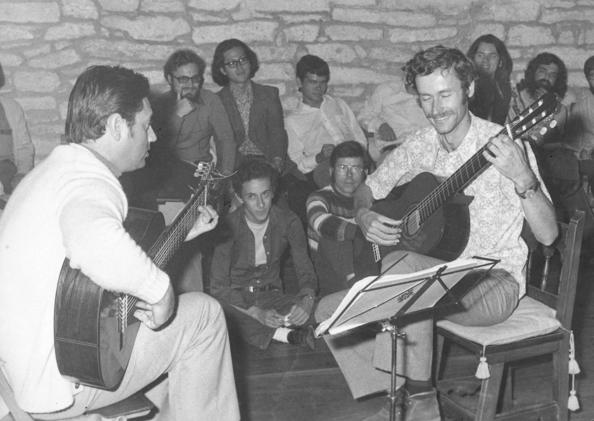 Ken Burns (2 years later) at the 1974 Andre Segovia Summer School in Santiago de Compostela (Jose Tomas - left, Ken Burns - right [now sporting a moustache])