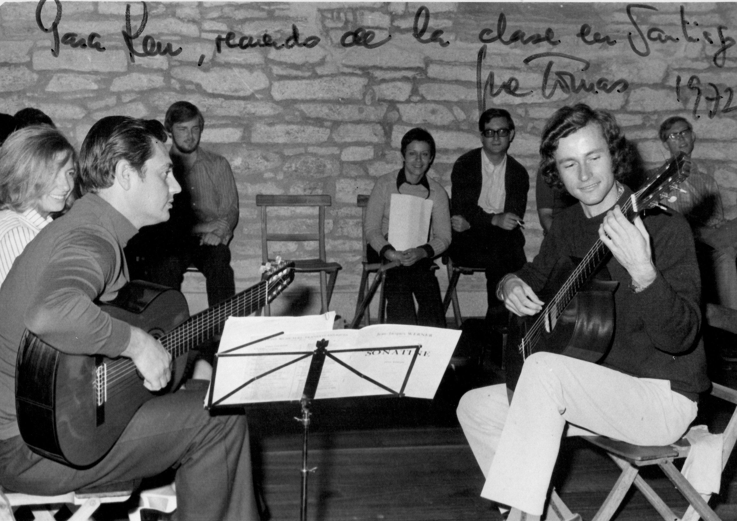 Ken Burns at the 1972 Andre Segovia Summer School in Santiago de Compostela (Jose Tomas - left, Ken Burns - right)