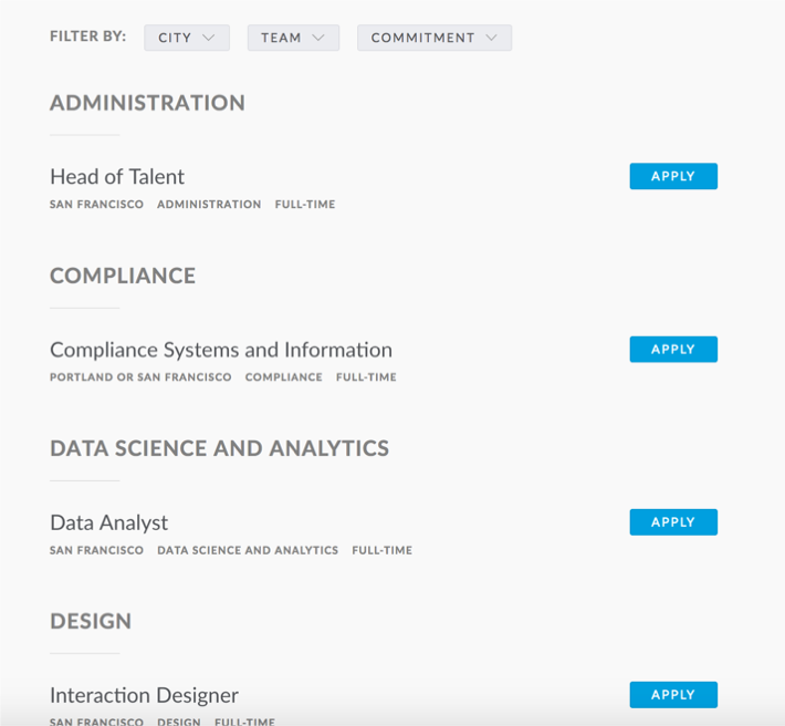 Careers - Hiring page Using JobsLever platform, iframe code embedded in secondary page