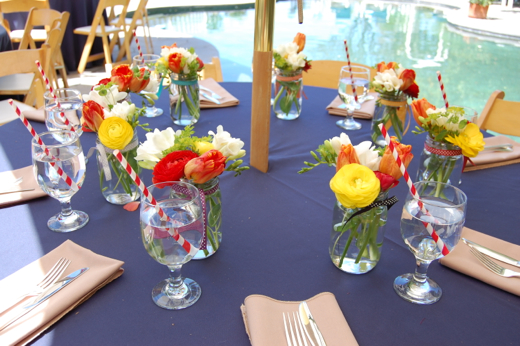 Meghan's beautiful mason jar arrangements as party favors