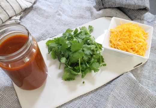 Enchilada Sauce, Cilantro and Cheese!