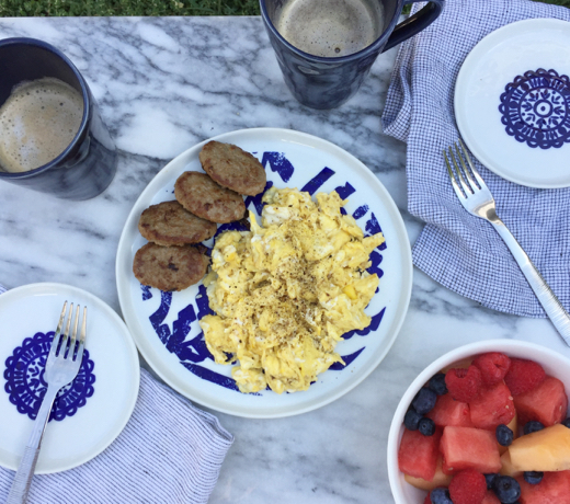 Three recipes - one day of your Whole30. Breakfast, Lunch and Dinner. Start with scrambled eggs in coconut or olive oil, Whole30 approved sausage, fresh fruit and an almond milk latte.