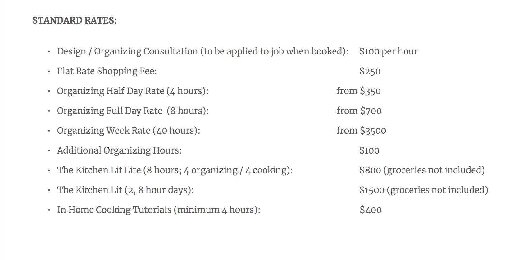 Standard Rates