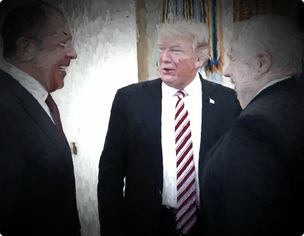 Russian Foreign Minister Sergey Lavrov, President Donald Trump and Russian Ambassador to the U.S. Sergey Kislyak.