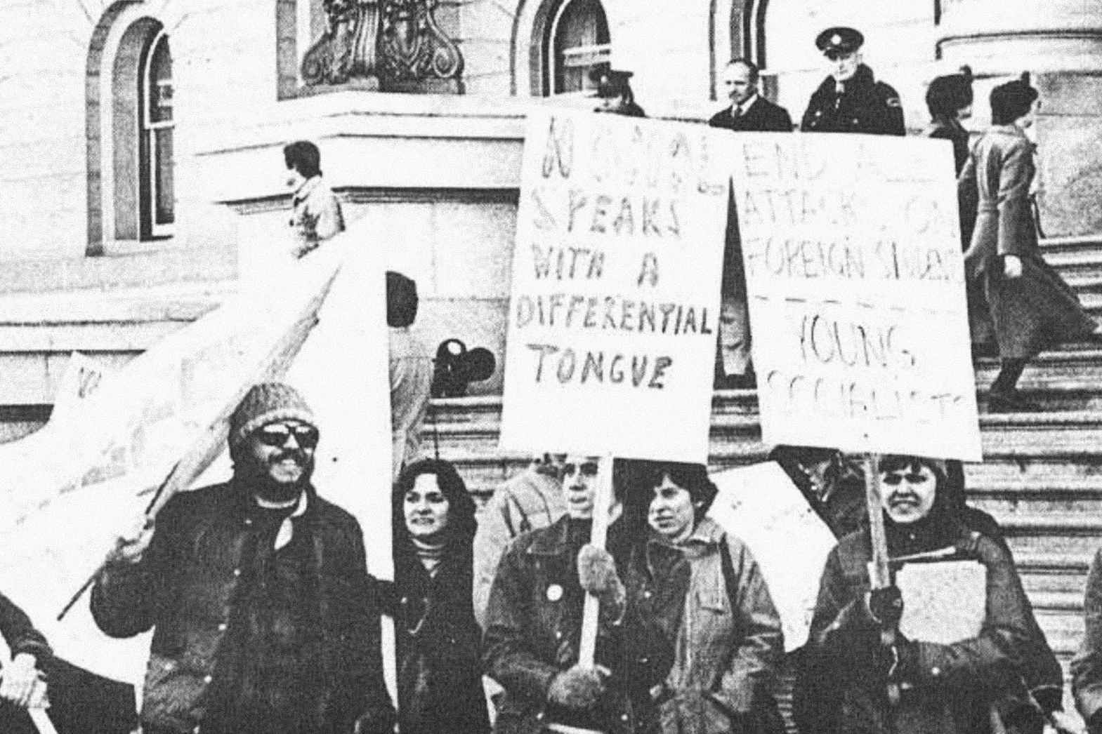 Students  protesting the international differential fee in 1977 at the Alberta Legislature.