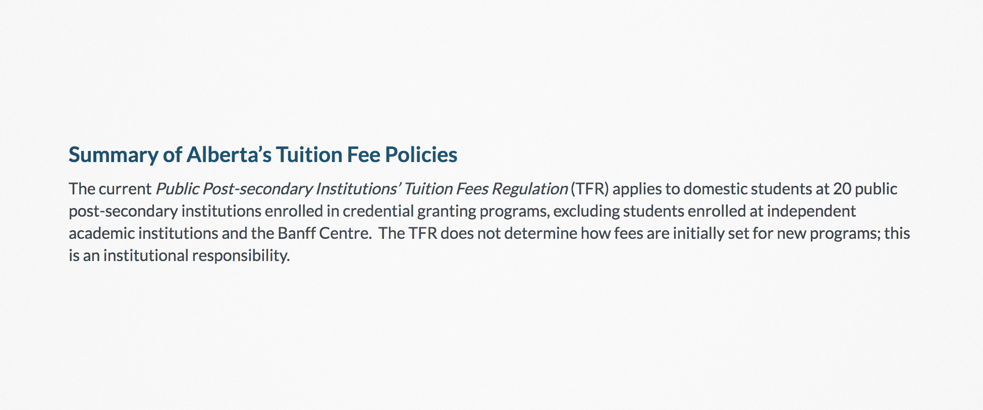 Tuition Review  background document .