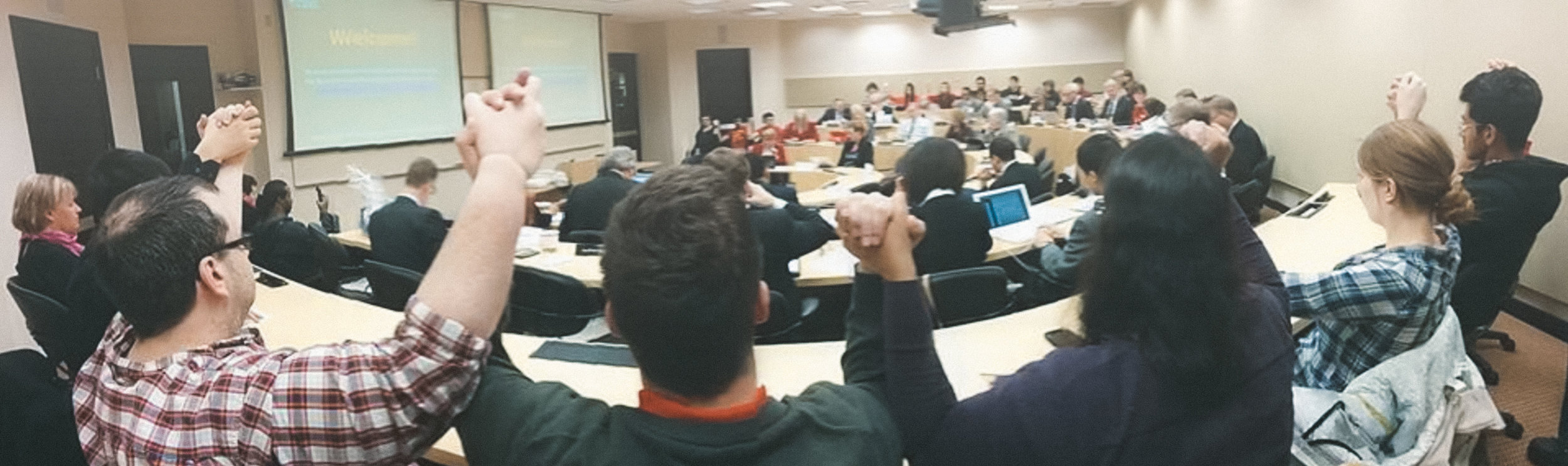 University of Alberta students opposing the international differential fee increase at the Board of Governor's meeting in December 2013. Credit: Joshua Le.