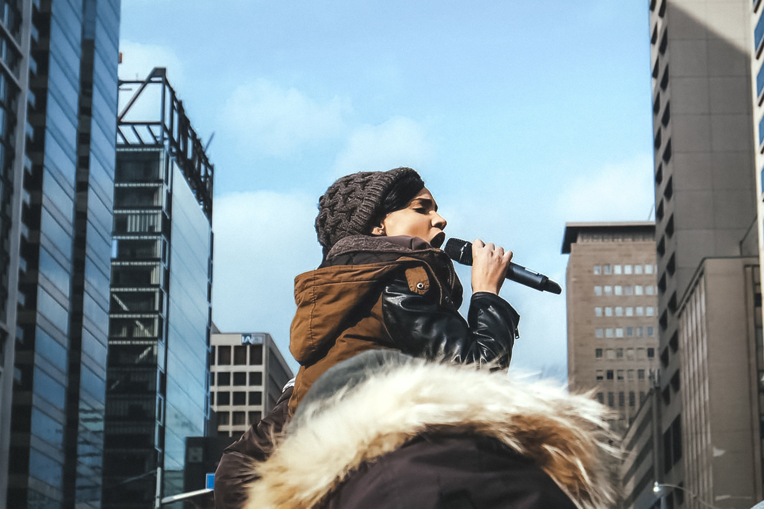 Black Lives Matter Toronto co-founder Yusra Khogali speaking at a rally. Source: blog.to