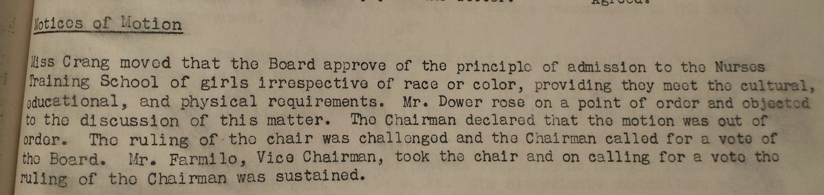 A motion from the 1938 Hospital Board meeting that denied Miss Utendale entrance to the Royal Alexander Hospital. The motion was moved by  Margaret Crang , one of Edmonton's first women elected to City Council.