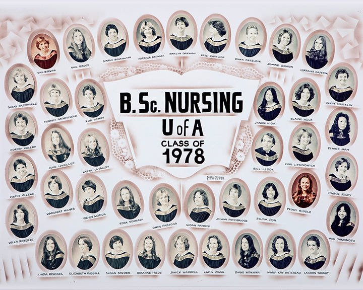 A photo of the 1978 graduating nursing class from the University of Alberta. Photo taken 40 years after Miss Utendale's was refused admission.