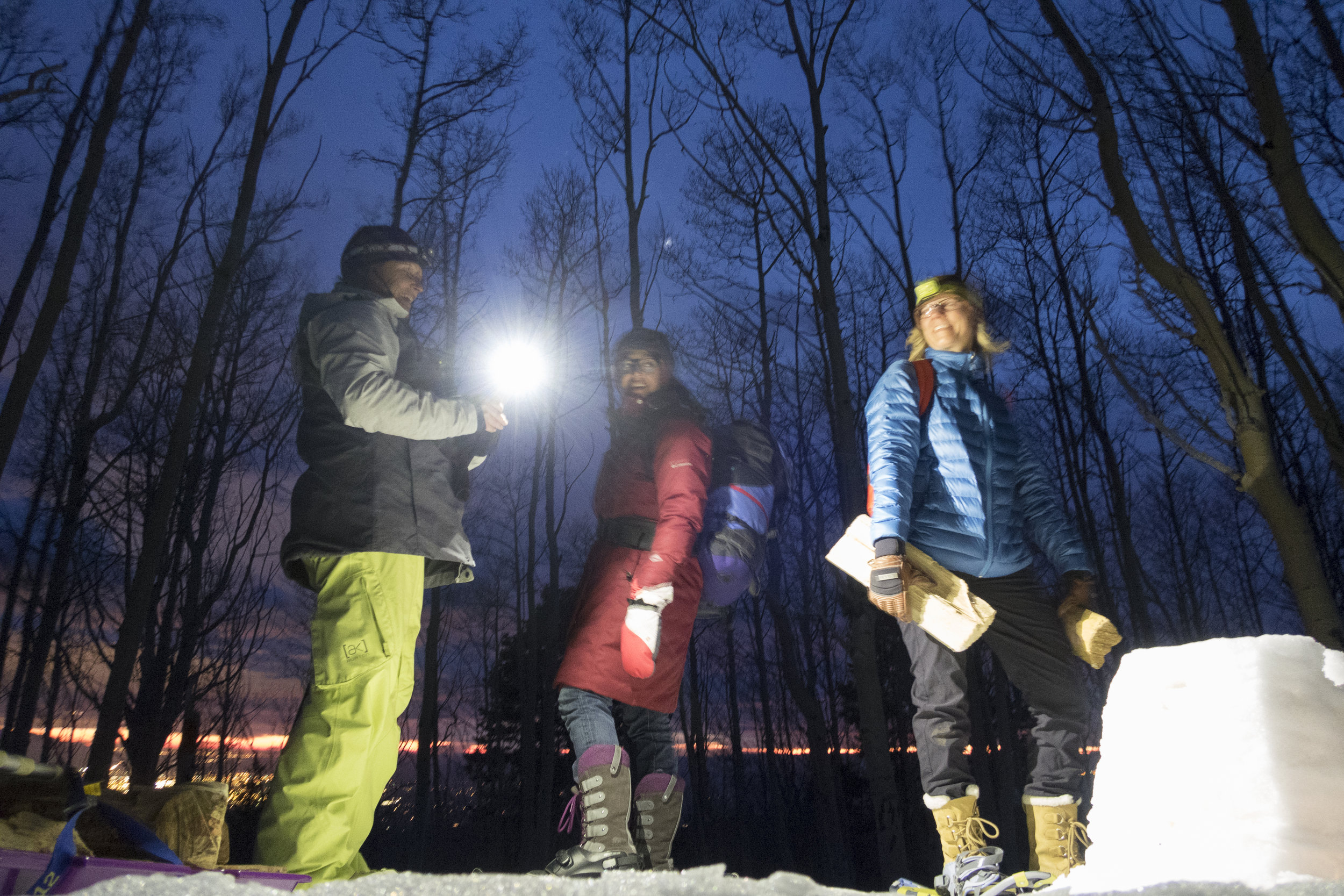 A winter night's hike to Channing Huser's snow spiral