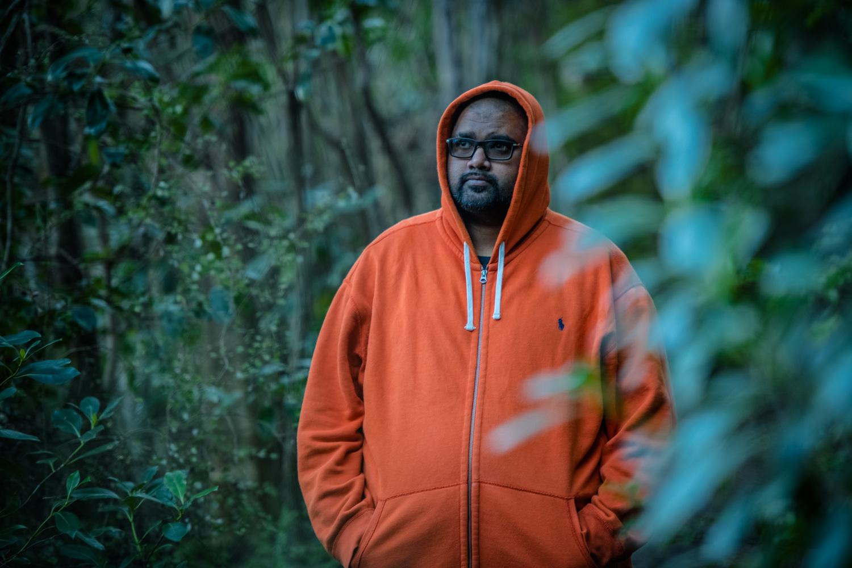 Orange hoodies work so well in the New Zealand native bush