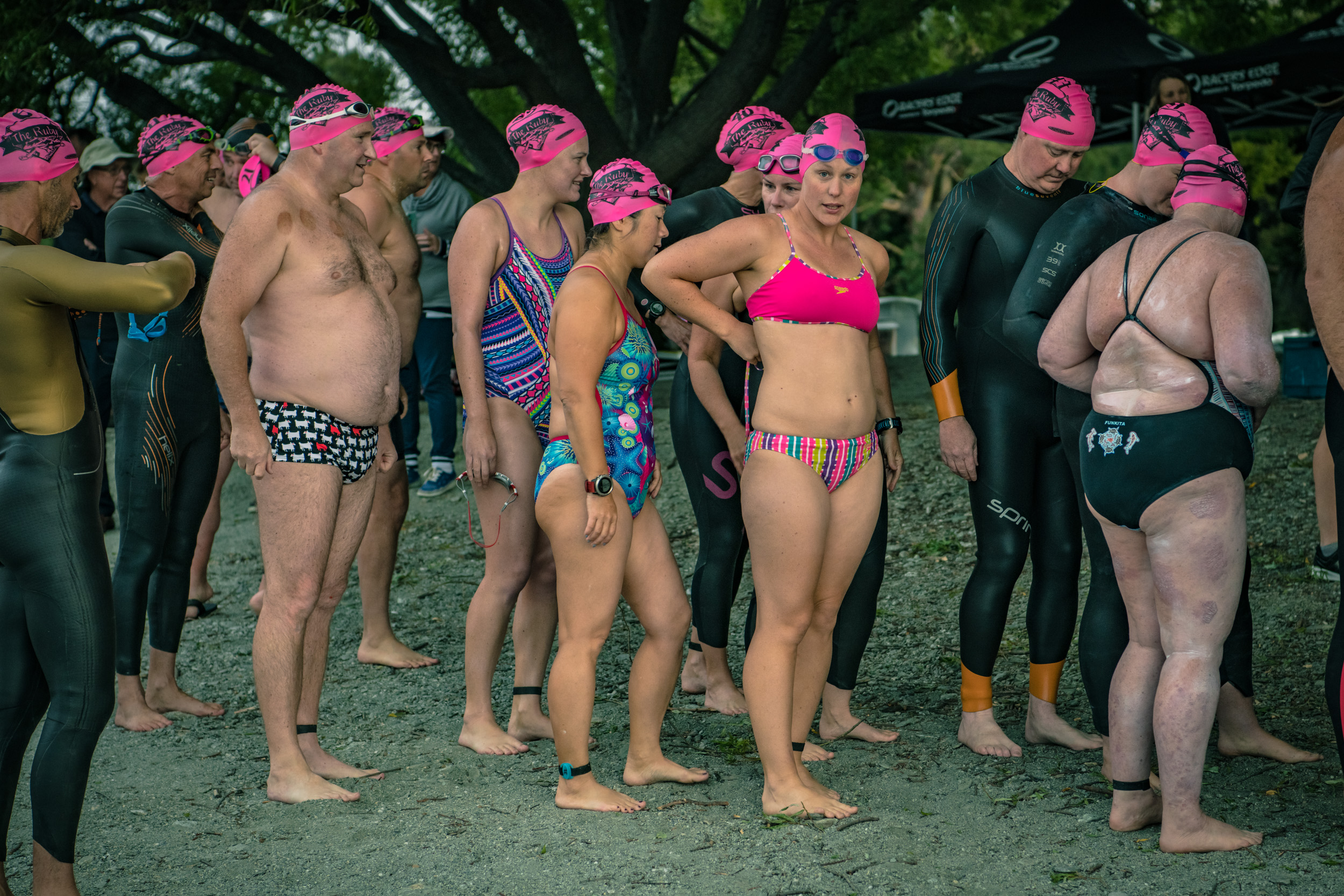 Getting ready to enter the water for The Lake Wanaka Ruby Island Swim
