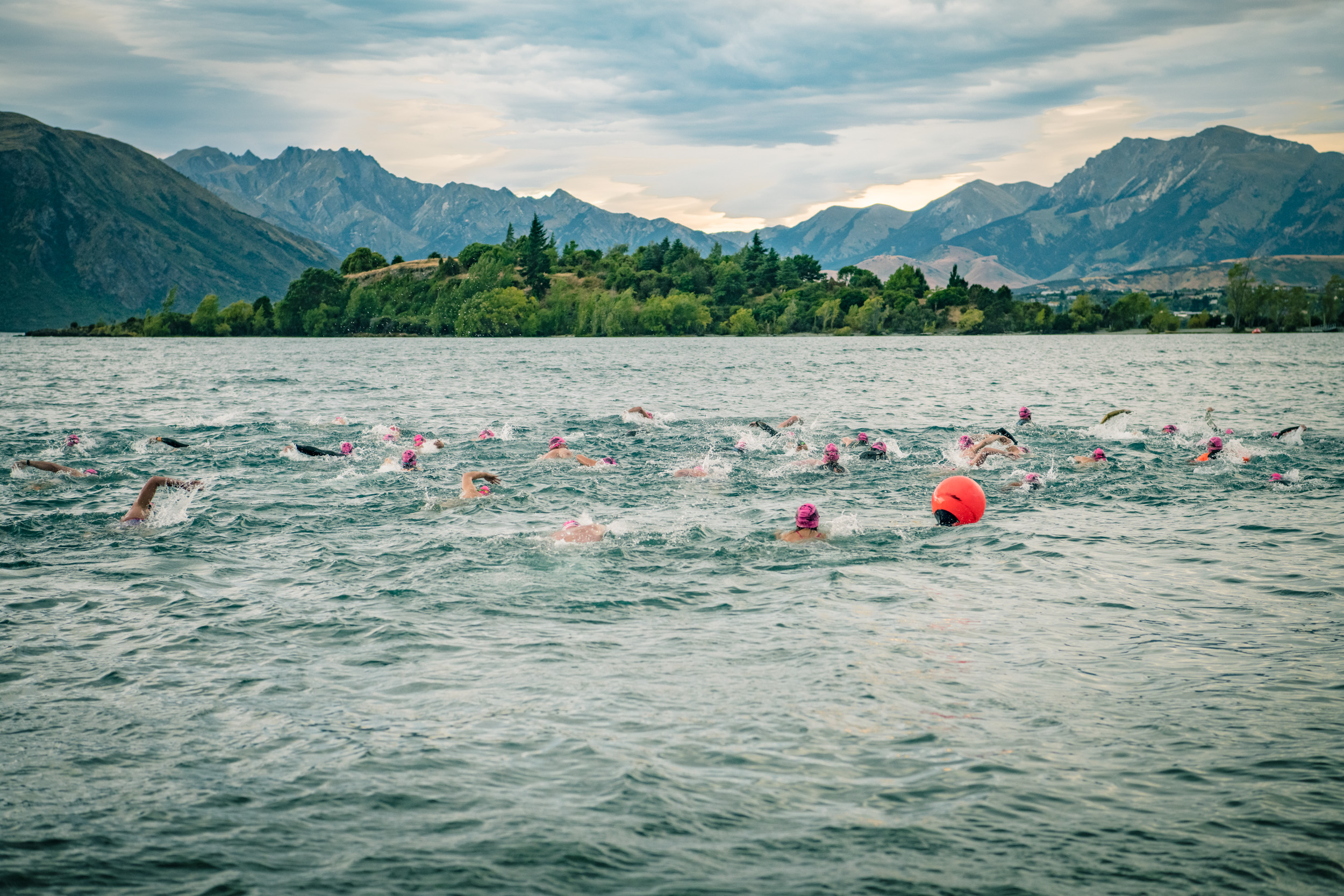 White water froth as the swimmers race the Ruby Island Lake Wanaka Swim