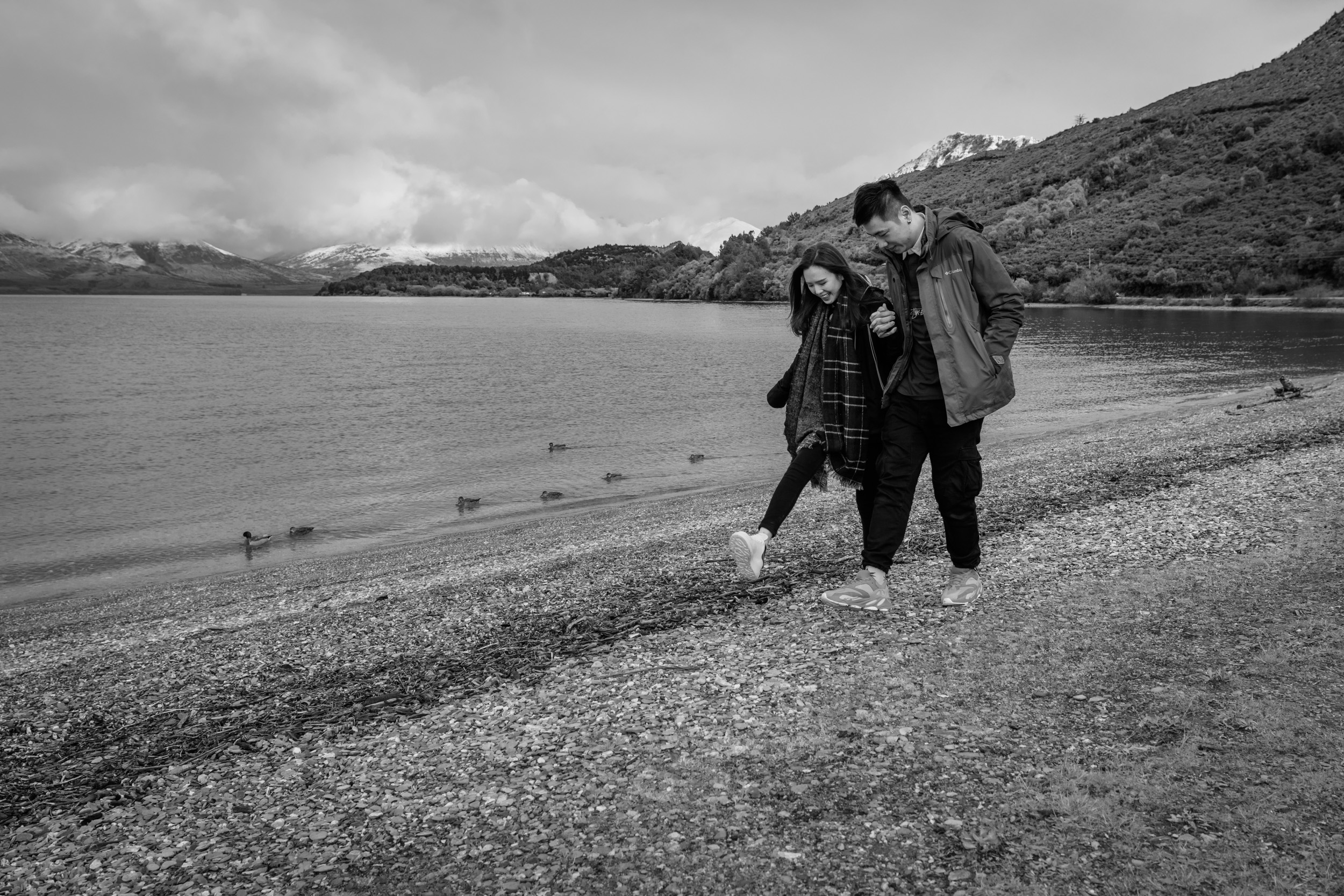 Walking along the beach - professional portrait photographs at South Island Points of Interest