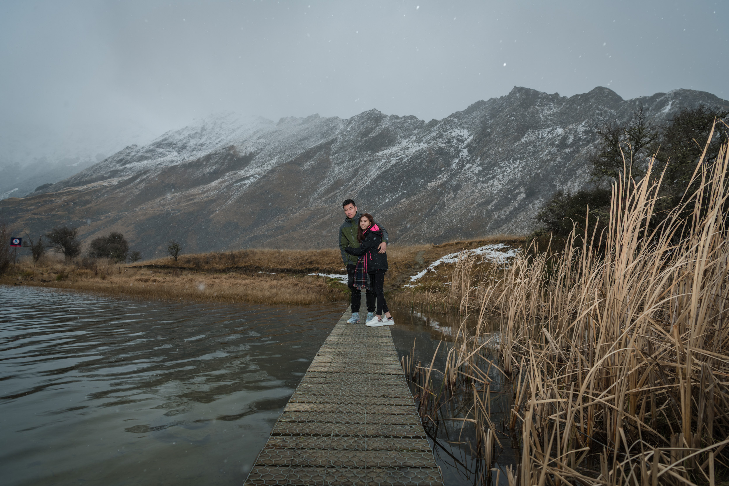 Snow falling at Moke Lake, Queenstown New Zealand - Private Charter 4WD Tours including Professional Travel Photography