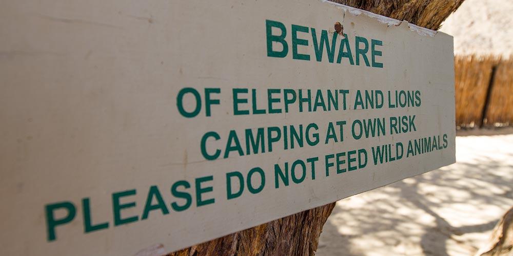 Warning Sign, Ugab River Rhino Camp