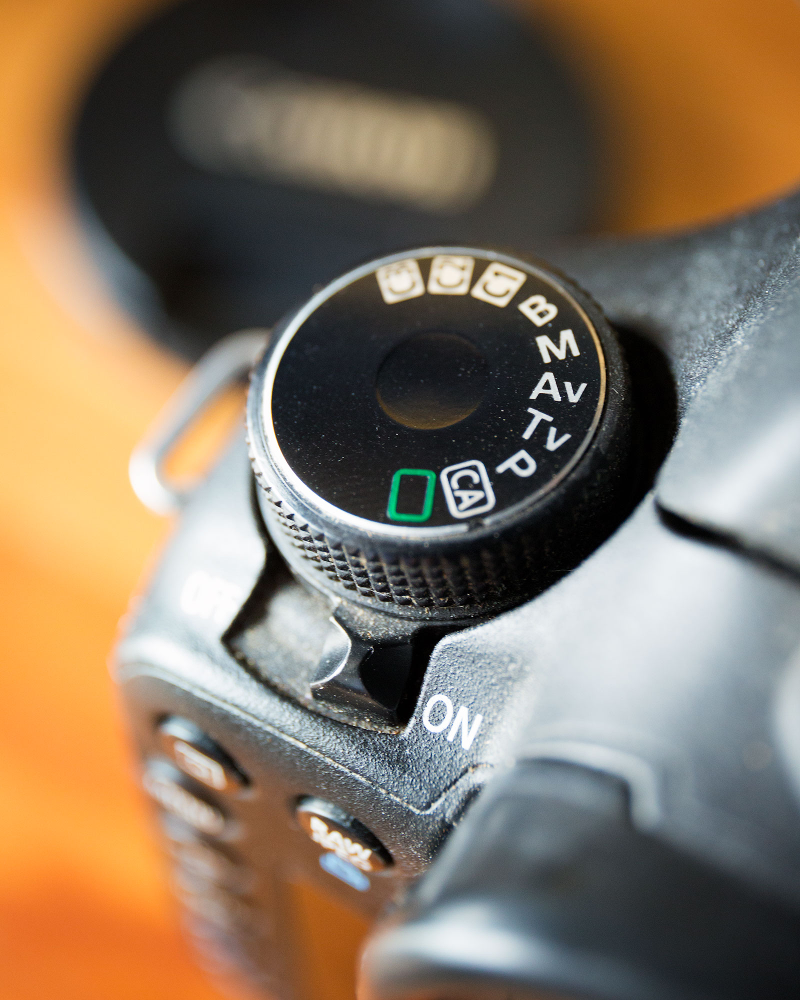The relatively simple mode dial of a Canon 7D.