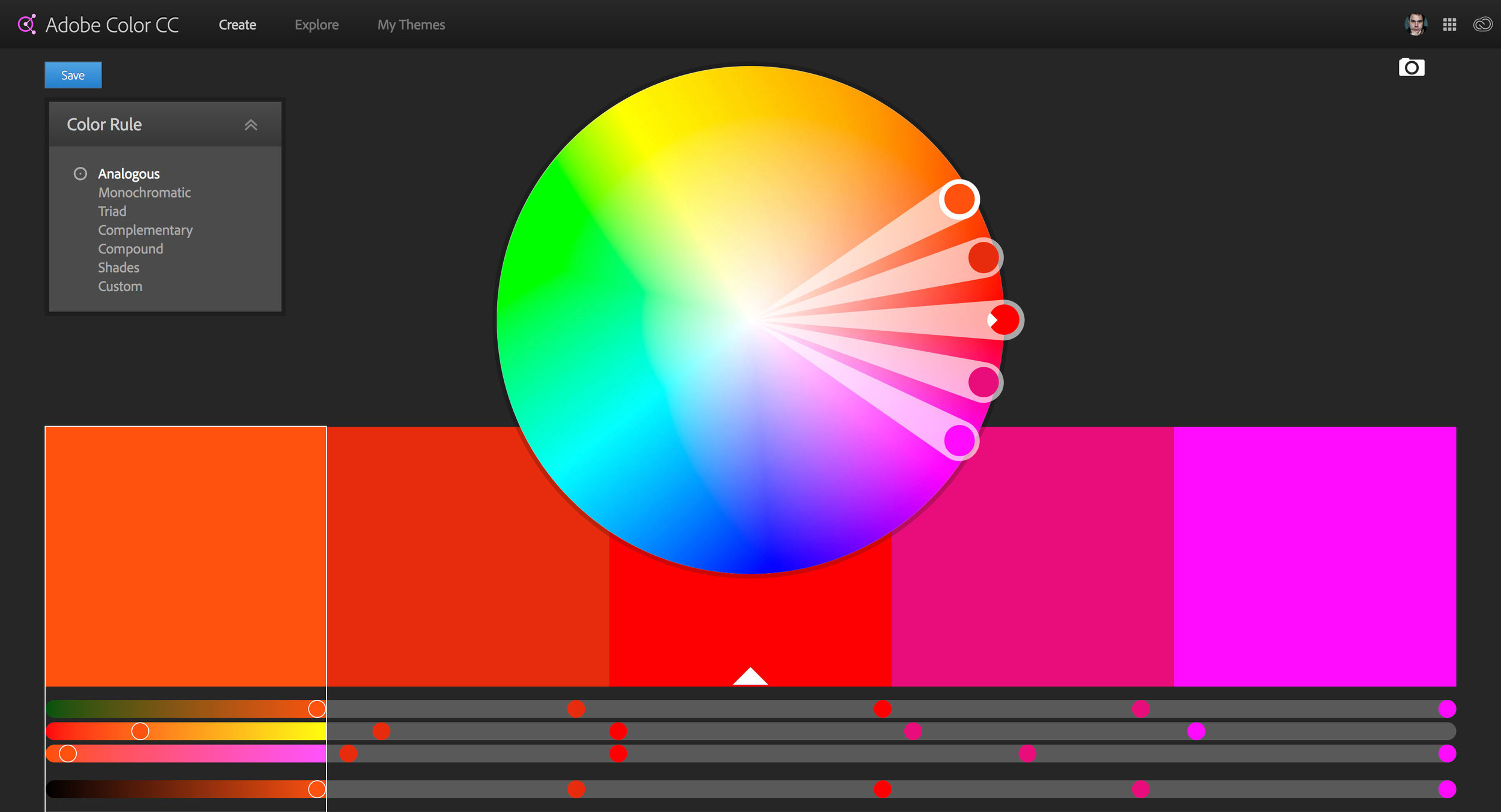 The Adobe Color CC user interface.