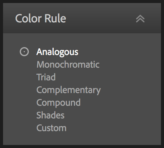 The list of colour rules available in Adobe Color.