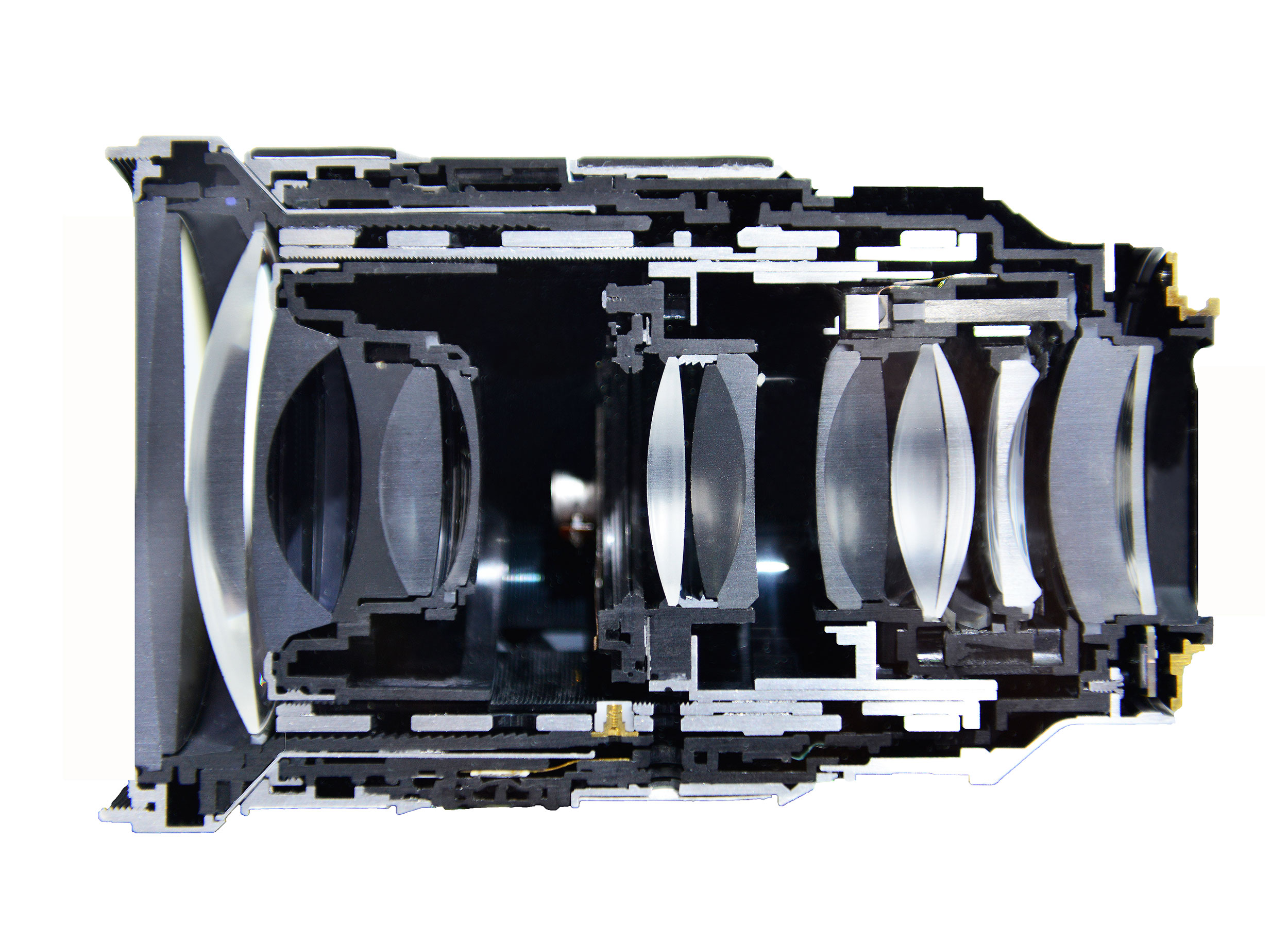 A cross section of a zoom lens showing internal optical elements.