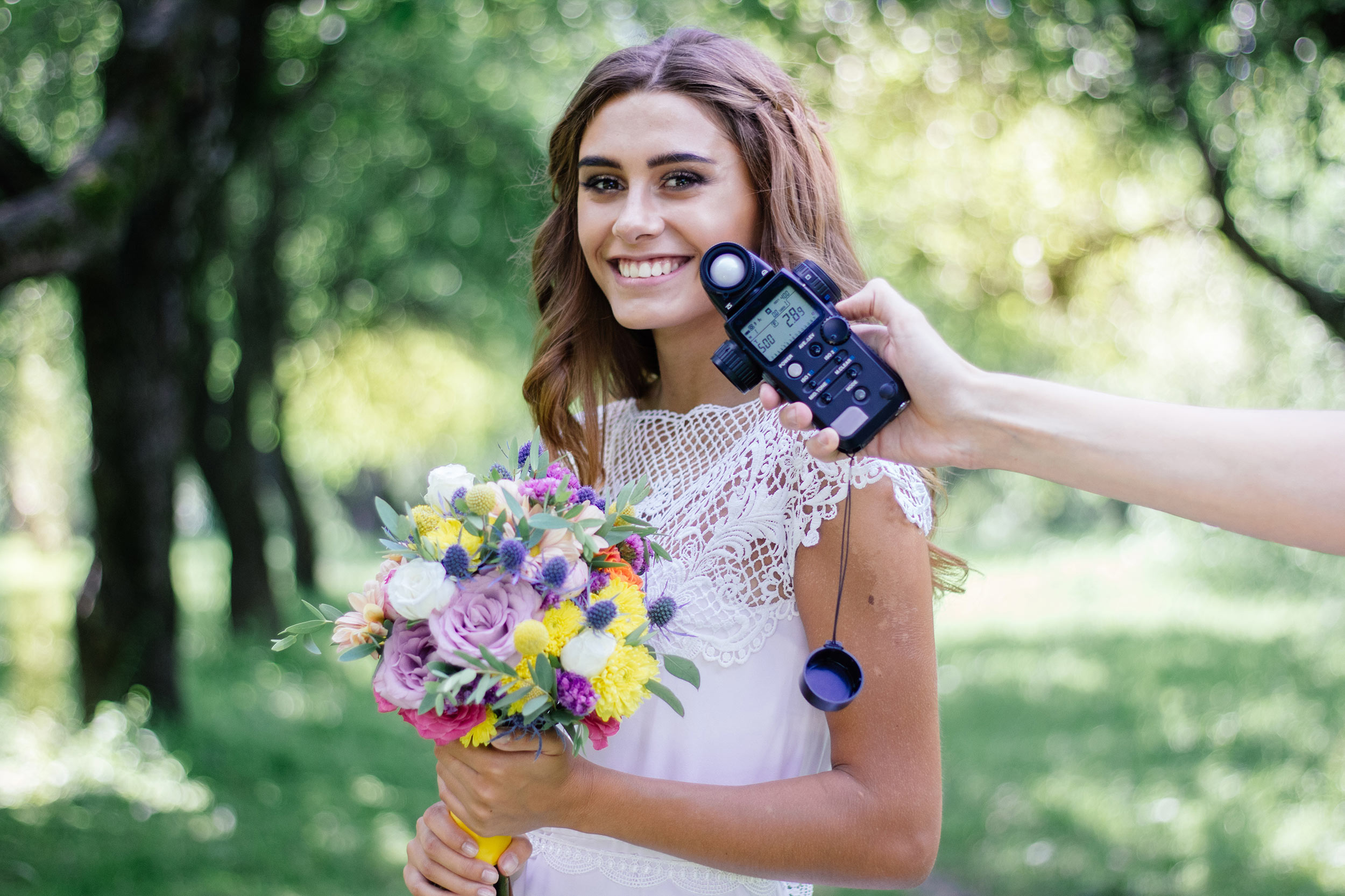 Model having the light at her exact location assessed using a handheld light meter.