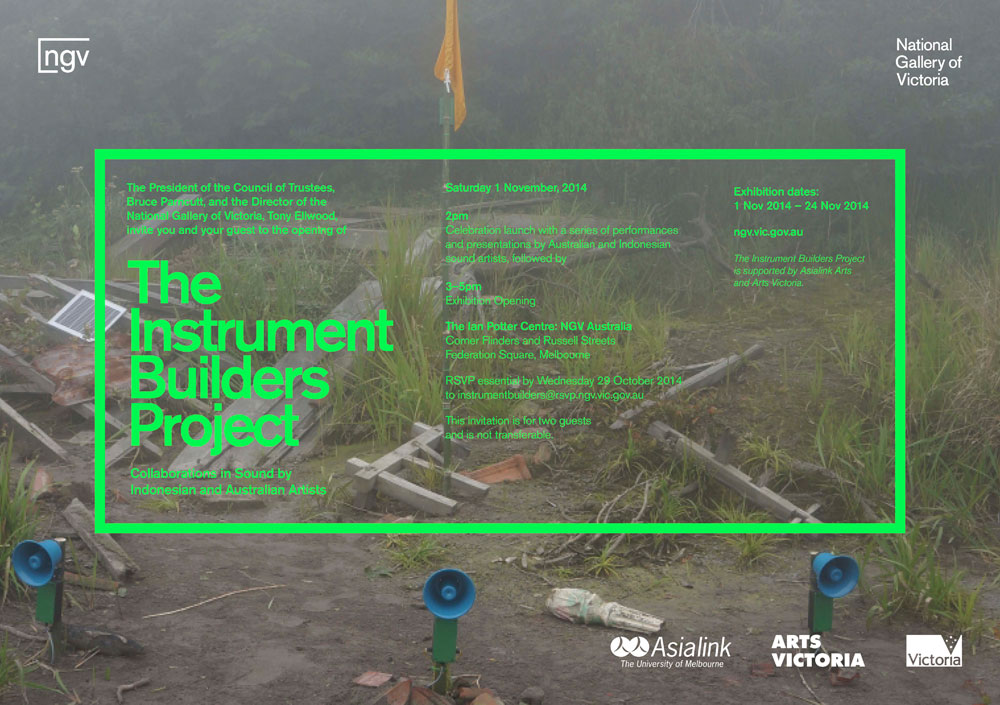 Instrument Builders Project curated by Kristi Monfries and Liquid Architecture director Joel Stern. Image on NGV invite by Michael Candy and Pia Van Gelder