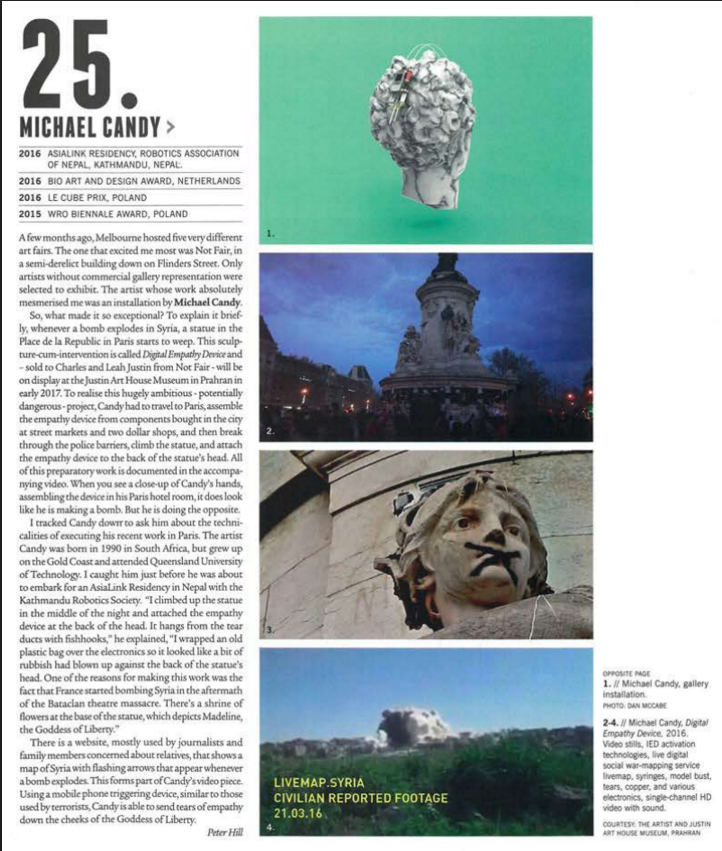 Michael Candy article by Peter Hill, Art Collector magazine 2017