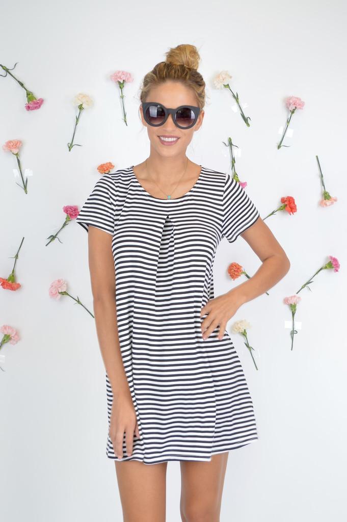 On the Go Little Black Striped Dress || Foi Clothing