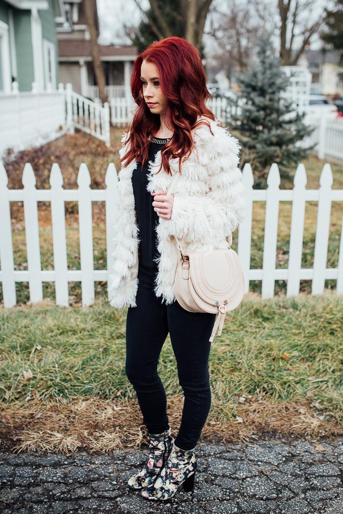 Faux Fur Jacket,  Red Dress Boutique  || Black Denim,  RaeLynn's Boutique  || Black Embellished Tank,  Express  || Velvet Floral Booties,  Report  || Photography,  Casey Ardizzone