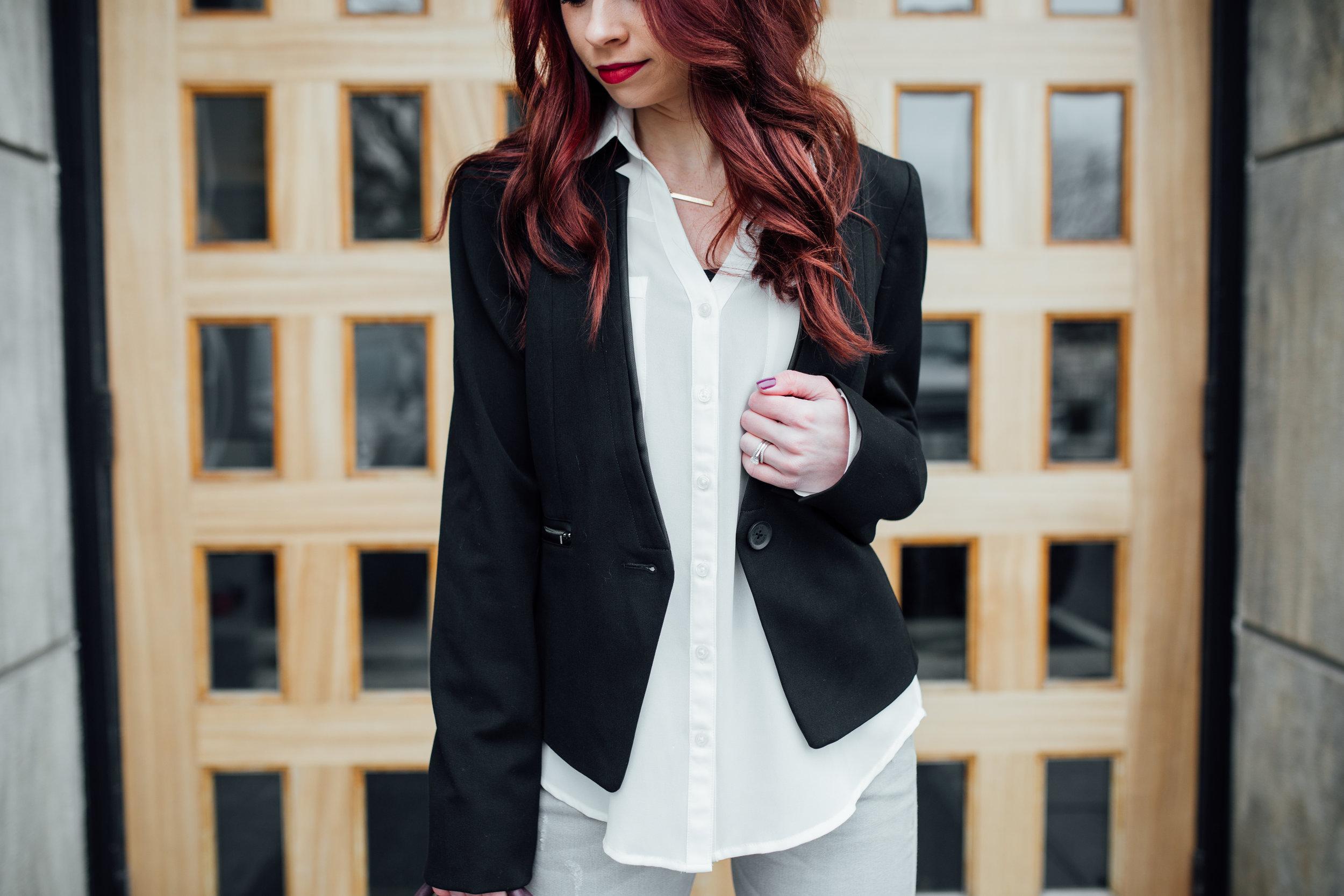 Blazer,  Express  || White Portofino Shirt, Express ||  Grey Ankle Jeans , Express || Mulled Wine Purse,  Kate Spade  || Bar Necklace,  Layered and Long  || Maroon Pumps,  Daya by Zendaya  || Photography,  Casey Ardizzone
