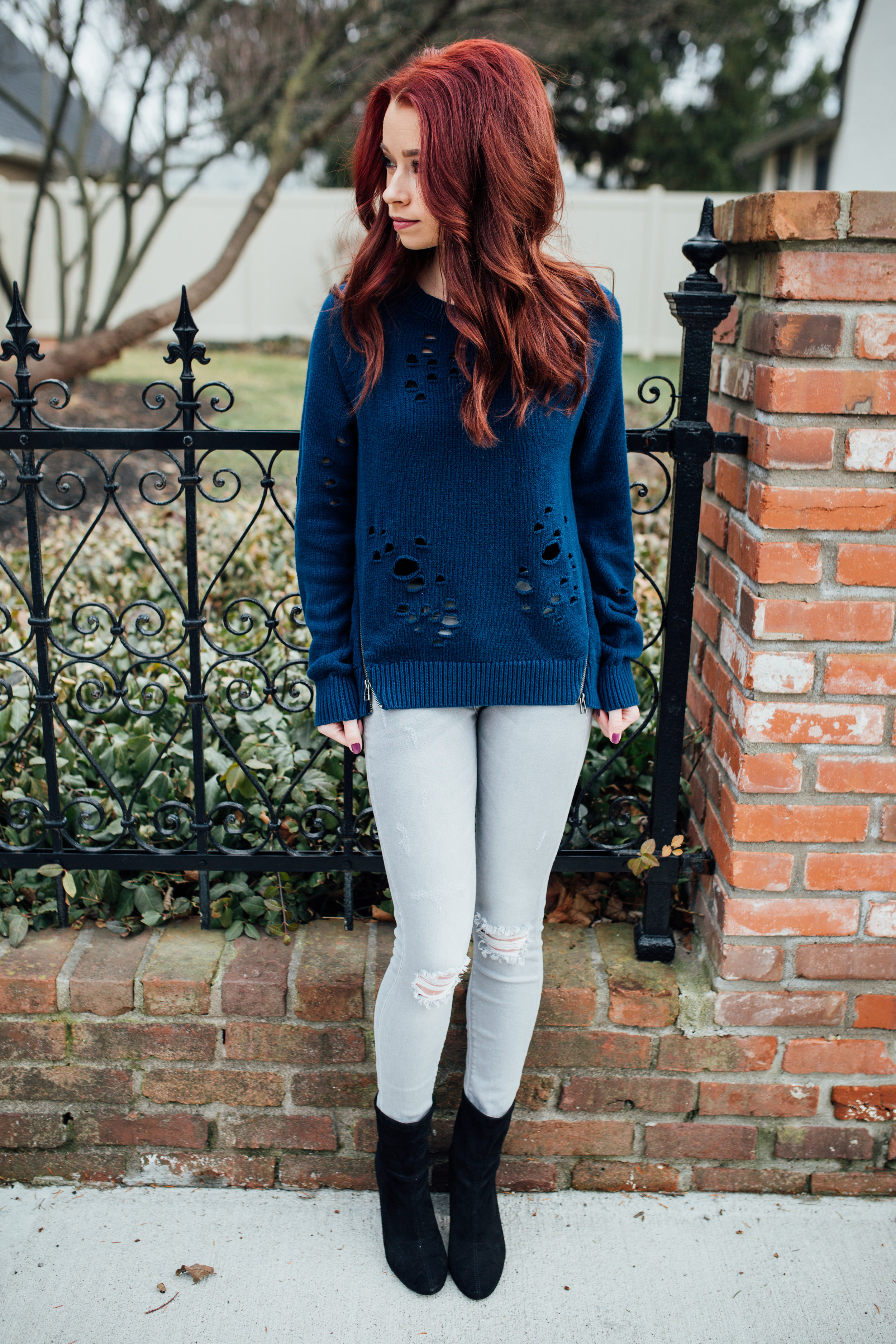 Distressed Sweater,  Express  || Grey Jeans,  Express  || Black Booties,  Nordstrom  || Mulled Wine Bag,  Kate Spade  || Photography,  Casey Ardizzone