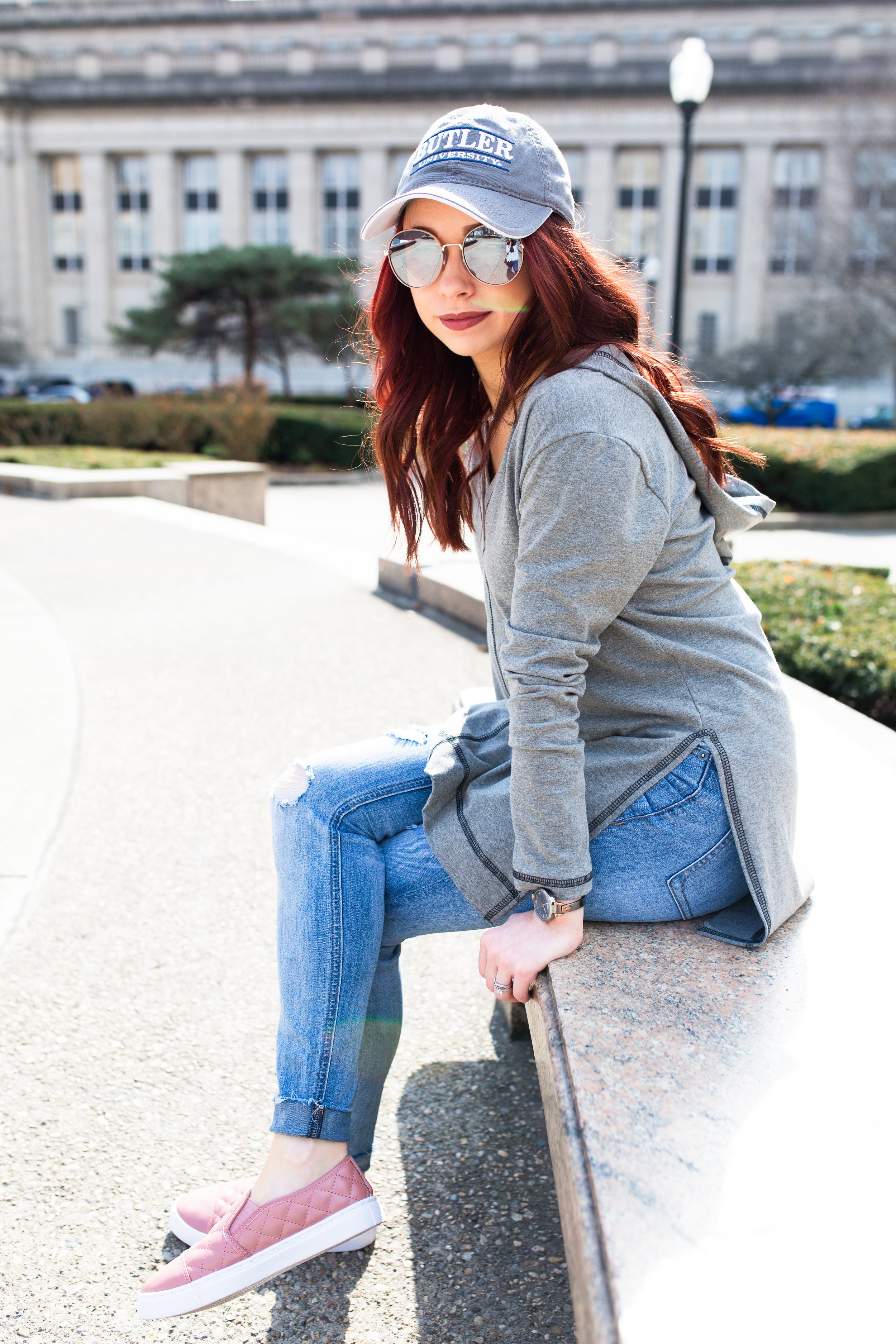 Grey Hoodie,  Magnolia Boutique  || Pink Sneakers,  Magnolia Boutique  || Distressed Jeans,  Express || Photography,  Casey Ardizzone