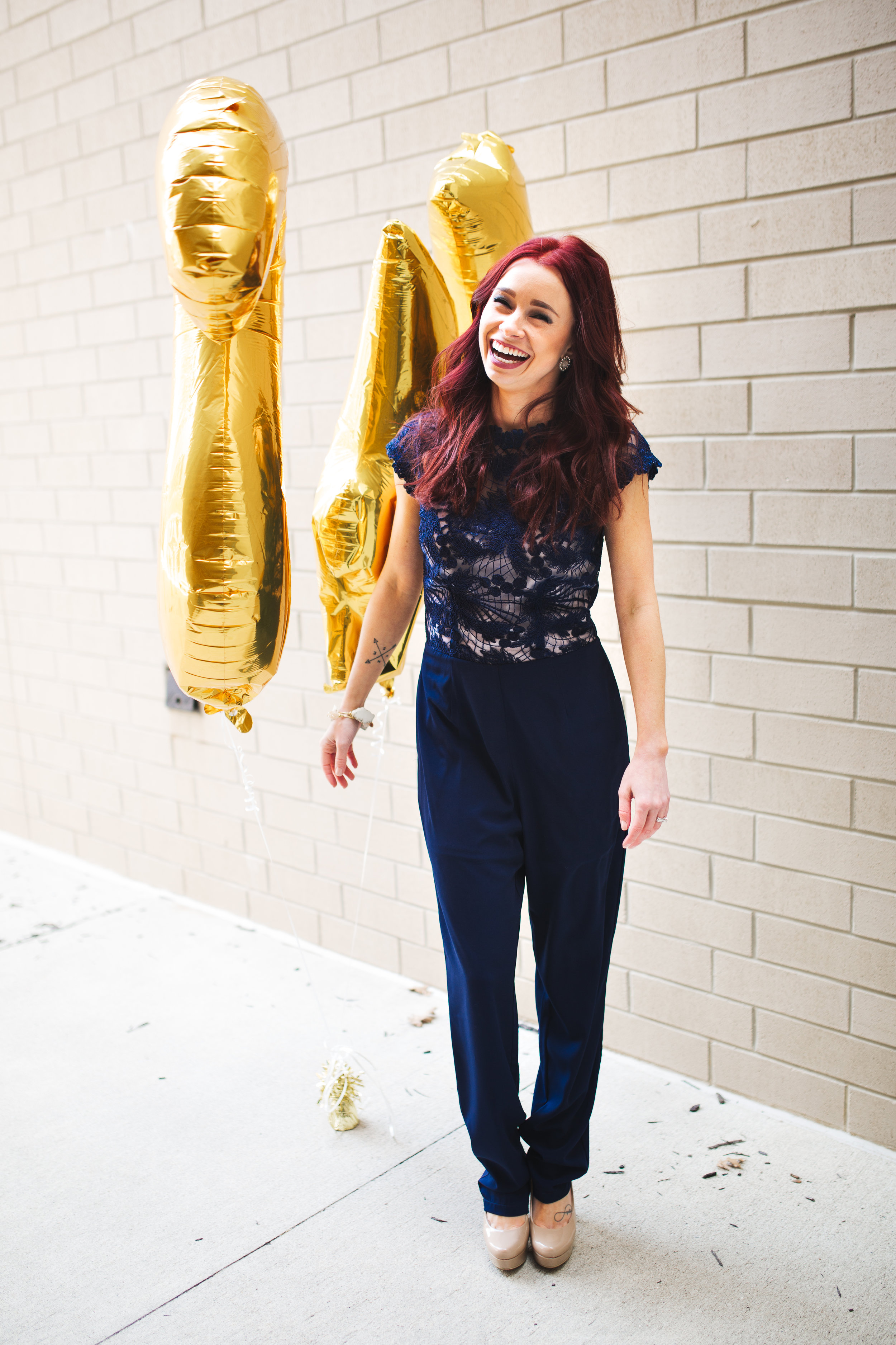 Navy Jumpsuit,  RaeLynn's Boutique  (STEPH10 for 10% off) || Nude Pumps,  Chinese Laundry  || Photography,  Casey Ardizzone