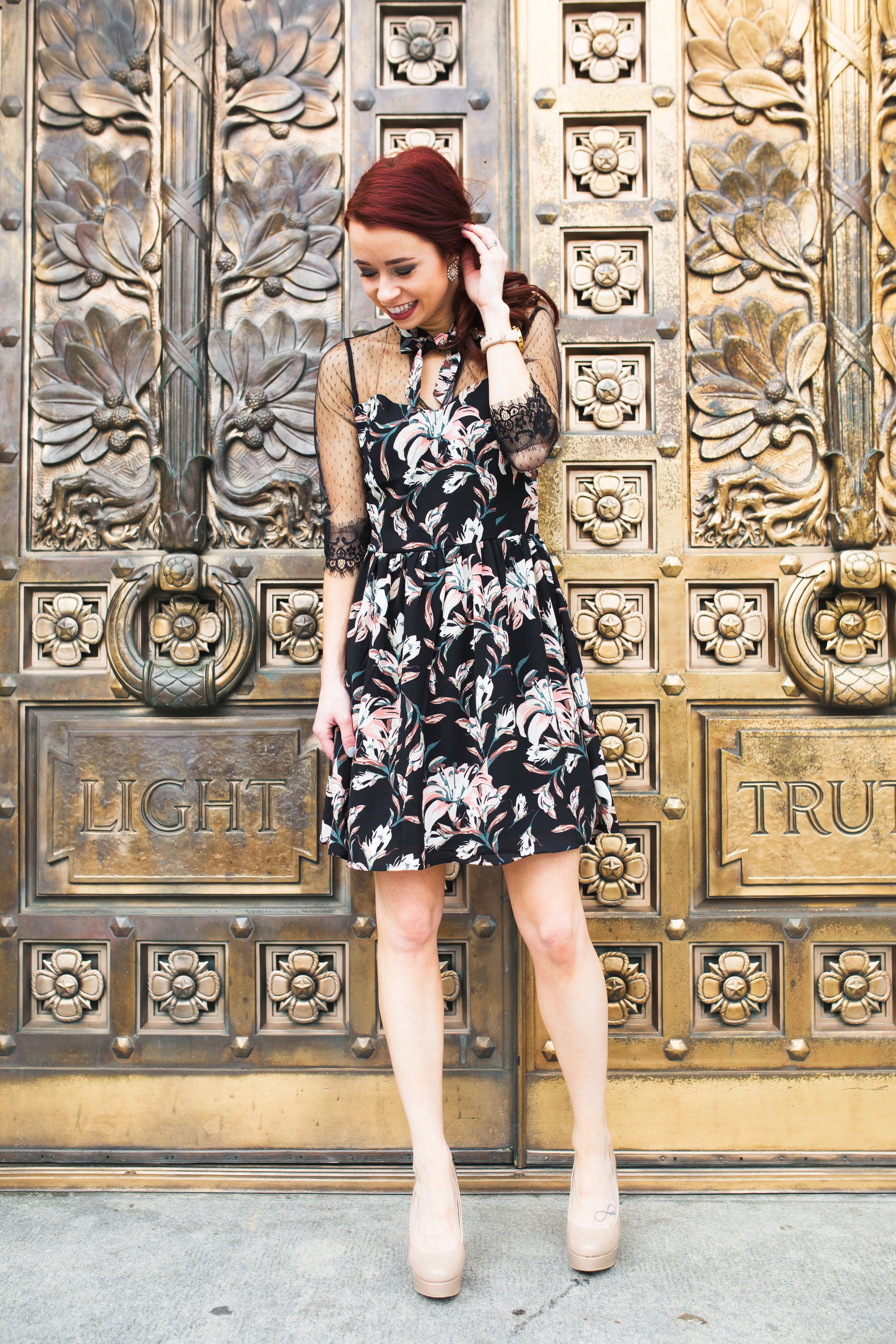 Floral Dress,  RaeLynn's Boutique  (TRENDY15 for 15% off) || Nude Pumps,  Chinese Laundry  || Photography,  Casey Ardizzone