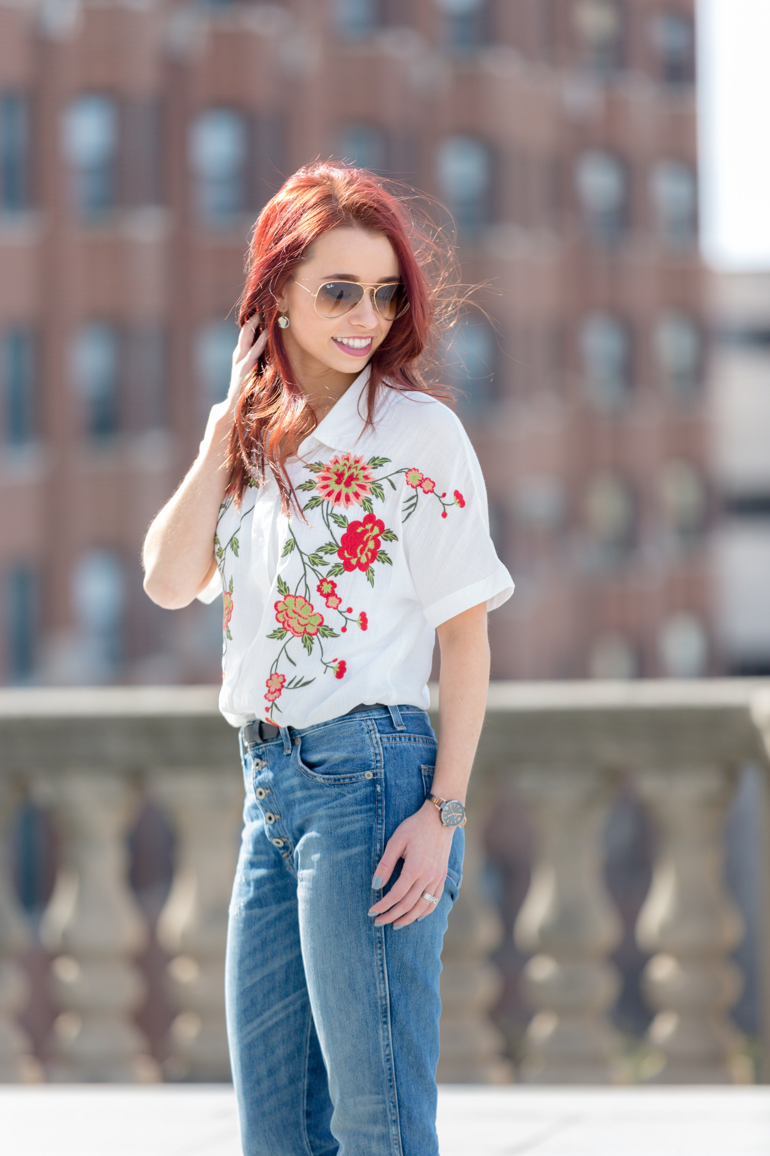 Embroidered Top,  RaeLynn's Boutique (use code TRENDY15 for 15% off) || Tomboy Jeans,  Lucky Brand  || Sunglasses,  Ray Ban Aviators  || Peep Toe Booties, DSW || Watch,  Fossil  || Bar Necklace,  Layered and Long